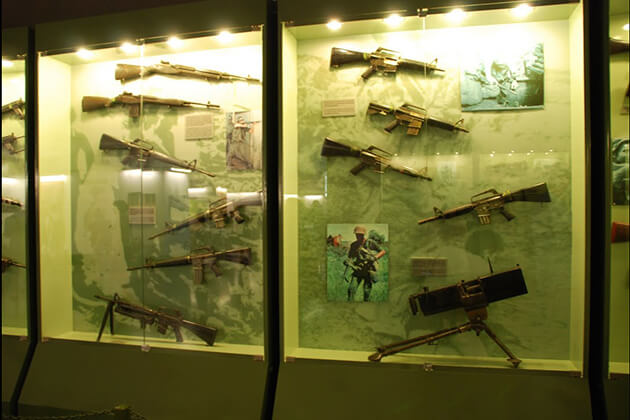 American guns inside War Remnants Museum